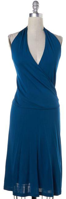 CÉLINE Teal Blue Halter Deep V-Neck Wrap Dress