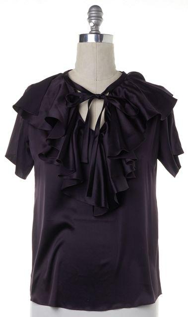 CÉLINE Dark Purple Silk Ruffled Short Sleeve Blouse Top