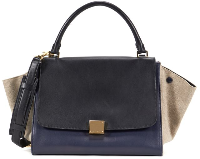 CÉLINE Black Navy Beige Canvas Smooth Leather Medium Trapeze Tote