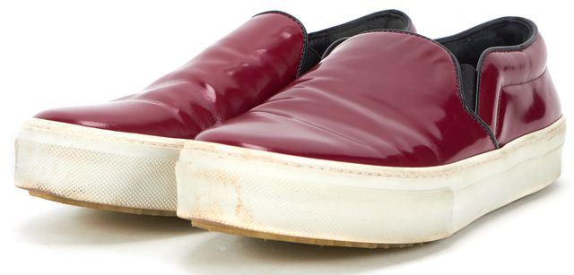 CÉLINE Raspberry Red Patent Leather Slip On Casual Skate Sneakers