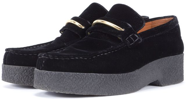 CÉLINE Black Gold Velvet Metal Accent Platform Loafers