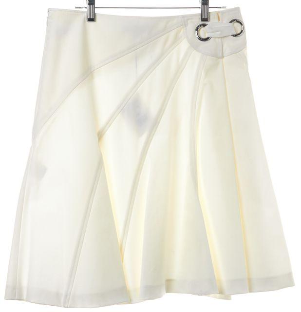 CÉLINE Ivory Grommet Detail Patchwork Cotton Blend A-Line Skirt