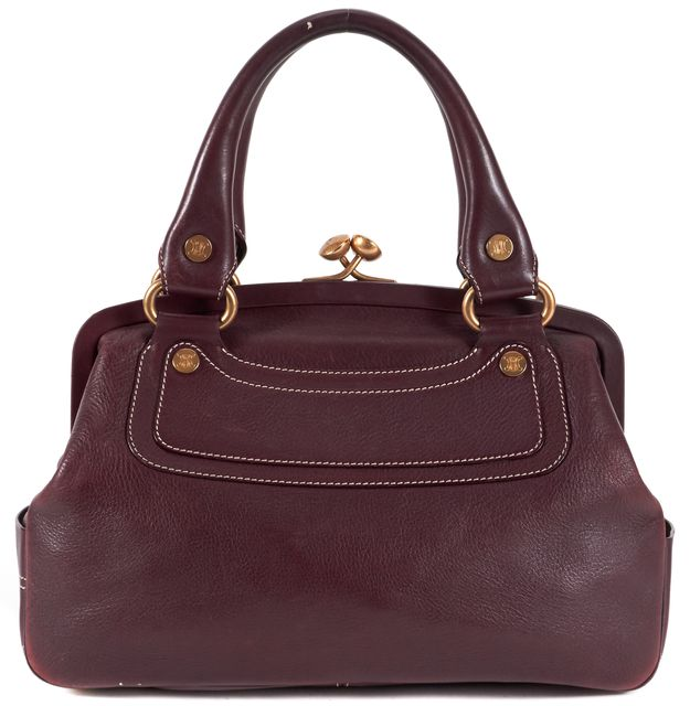 CÉLINE Burgundy Pebbled Leather Kiss Lock Top Handle Bags