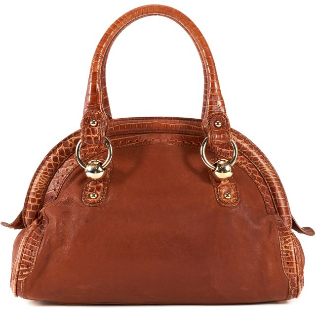 CÉLINE Brown Crocodile Embossed Leather Shoulder Bag