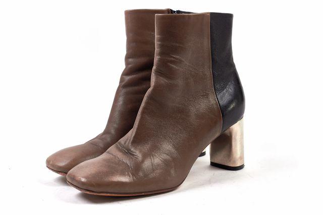 CÉLINE Black Brown Leather Metallic Heel Ankle Booties