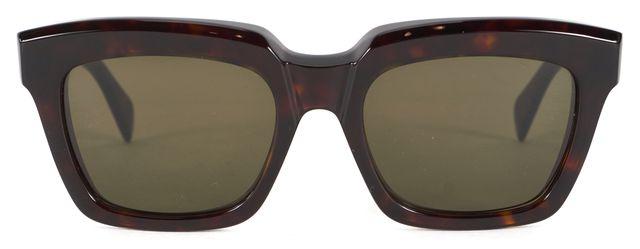 CÉLINE Brown Tortoise Shell Acetate Square Cateye Sunglasses
