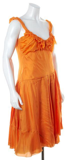 CÉLINE Orange Silk Pleated Ruffle Sleeveless Sundress