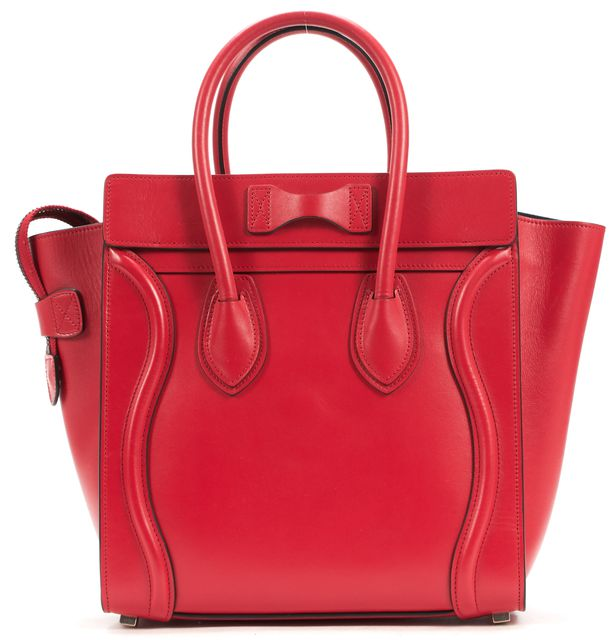 CÉLINE Red Leather Micro Luggage Tote Top Handle Bag