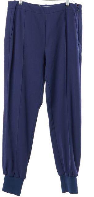 CÉLINE Blue Silk Pleated High Waisted Jogger Pants