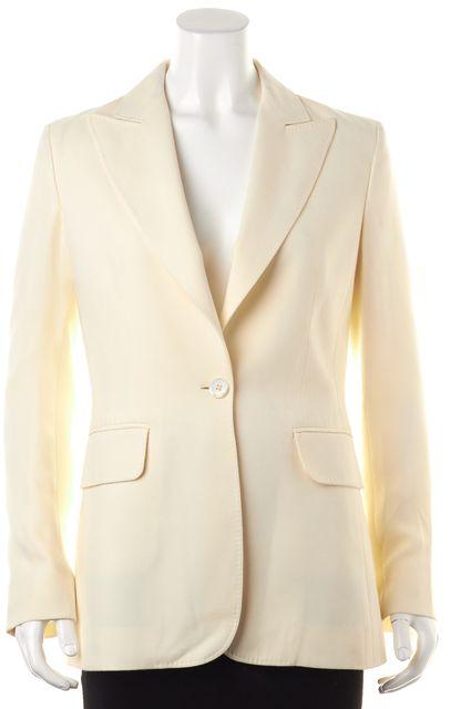 CÉLINE Ivory Silk Cotton One Button Blazer Jacket
