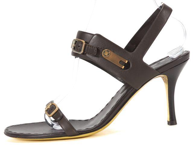 CÉLINE Brown Leather Strap Sandal Heel US 10 IT 40