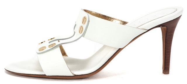 CÉLINE White Leather Slip On Gold Stud Embellished Stacked Heels Sandals