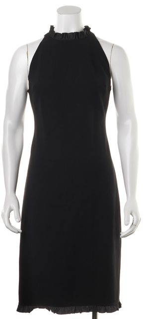 CÉLINE Black Stretch Wool Silk Ruffle Trim Sleeveless Sheath Dress