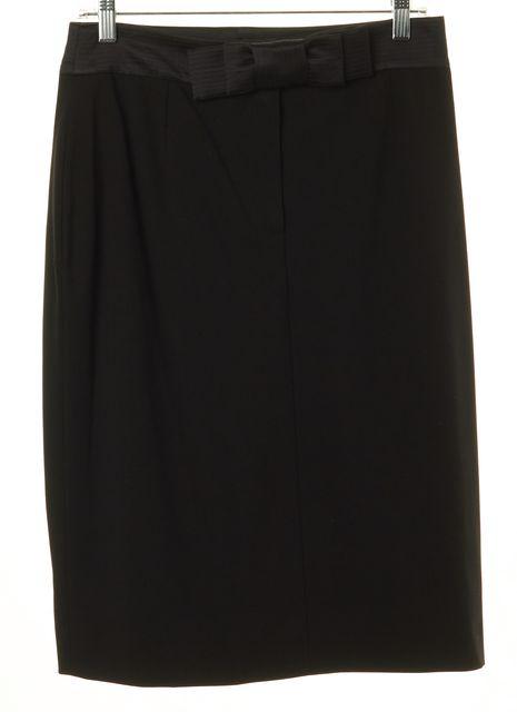 CÉLINE Black Wool Blend Bow Front Knee-Length Straight Skirt