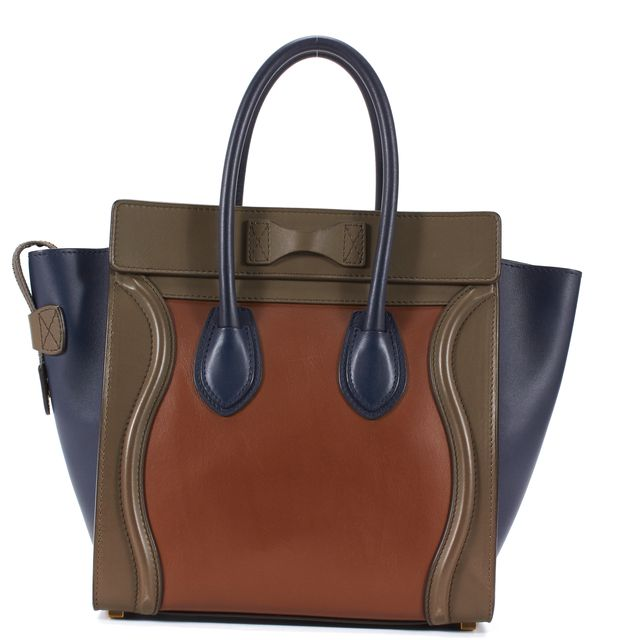 CÉLINE Tan Brown Navy Taupe Calfskin Micro Luggage Top Handle Tote Bag