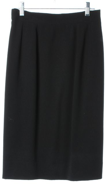 CÉLINE Vintage Black Wool Knee-Length Pleated Straight Skirt