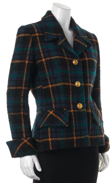 CÉLINE Blue Plaids & Checks Wool Basic Jacket