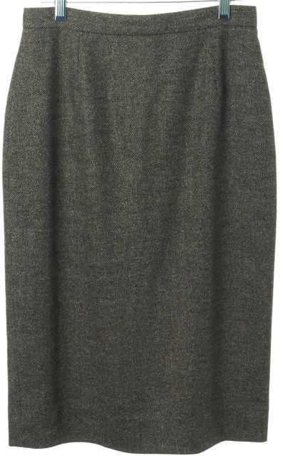 CÉLINE Gray Wool Blend Knee-Length Straight Skirt