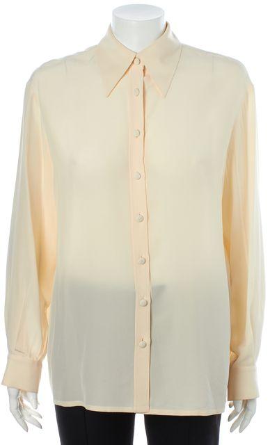 CÉLINE Ivory Long Sleeve Button Down Blouse