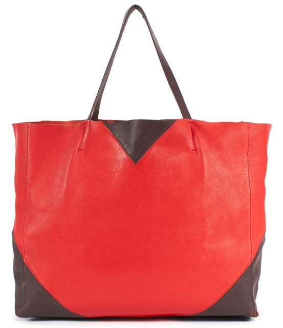CÉLINE Red Brown Leather Horizontal Cabas Tote Bag