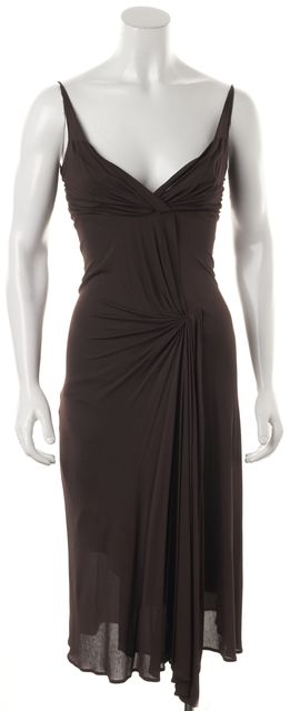 CÉLINE Brown Draped Knee-Length Empire Waist Dress