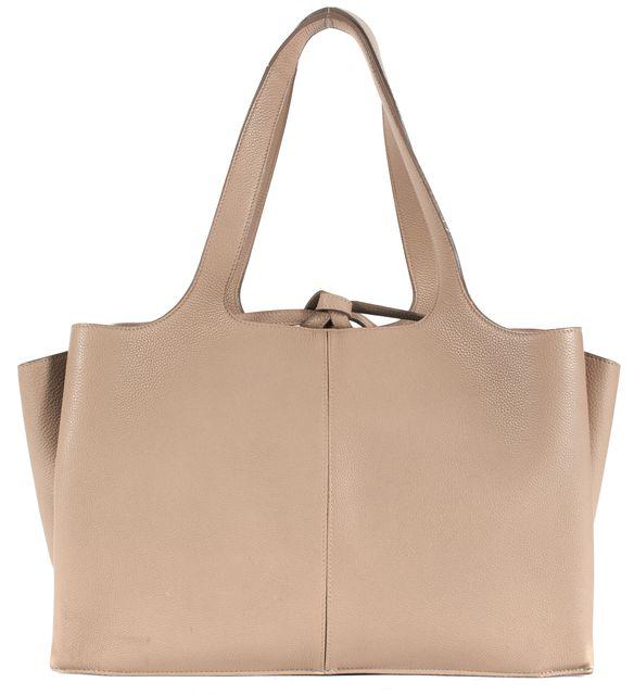 CÉLINE Shearling Beige Drummed Leather Tri-Fold Shoulder Bag