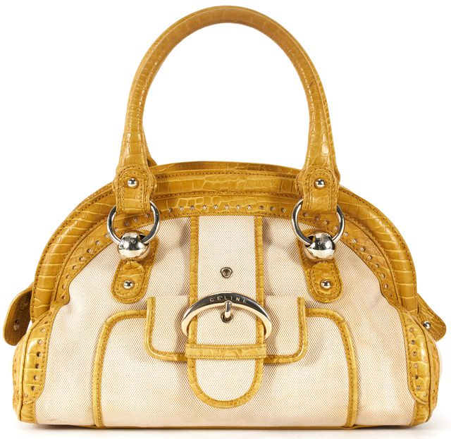 CÉLINE Yellow Beige Canvas Crocodile Embossed Leather Trim Top Handle Bag