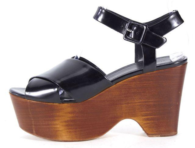 CÉLINE Black Leather Crisscross Ankle Strap Wooden Wedges