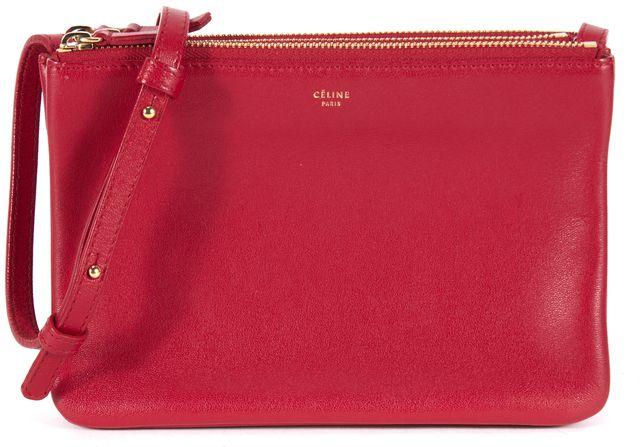 CÉLINE Red Detachable Three Pocket Leather Crossbody Bag