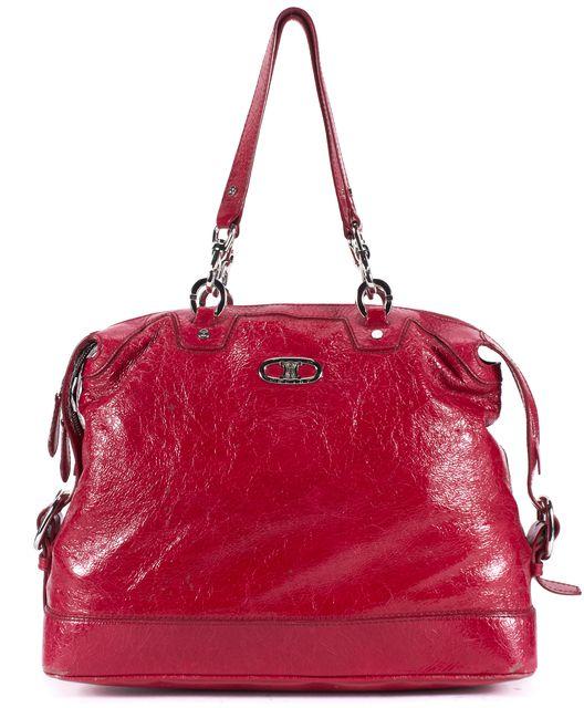 CÉLINE Patent Leather Red Top Handle Shoulder Bag