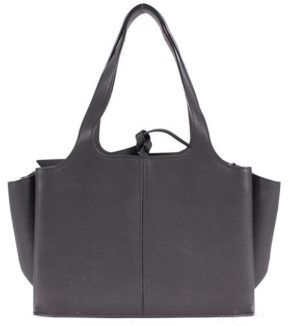 CÉLINE Dark Gray Pebbled Leather Trifold Tote Shoulder Bag