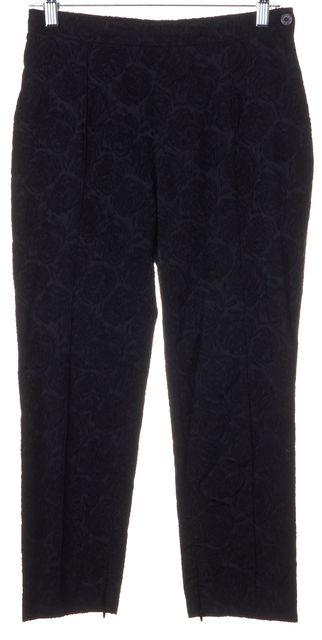 CÉLINE Black Silk Rose Embroidered Cropped Dress Pants