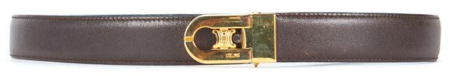 CÉLINE Brown Leather Gold Hardware Skinny Belt