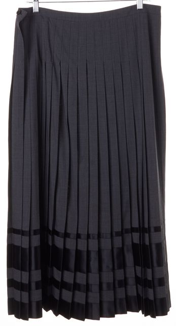 CÉLINE Solid Gray Black Wool Pleated Long Skirt Size FR 44 US 12
