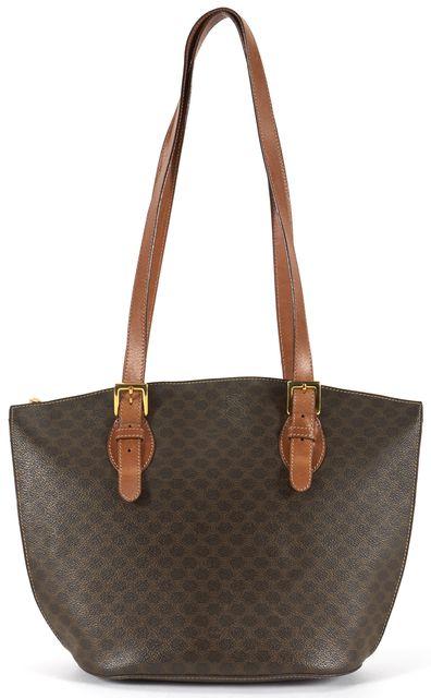 CÉLINE Vintage Brown Monogram Coated Canvas Leather Trim Shoulder Bag
