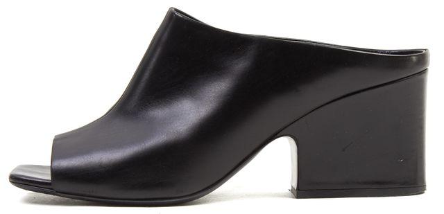 CÉLINE Black Leather Square Open Toe Mules Heels Size 10.5 IT 40.5
