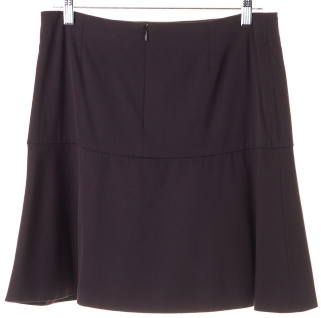 CÉLINE Dark Purple Wool A-Line Skirt