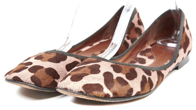 CÉLINE Pink Brown Leopard Print Calf Hair Leather Flats
