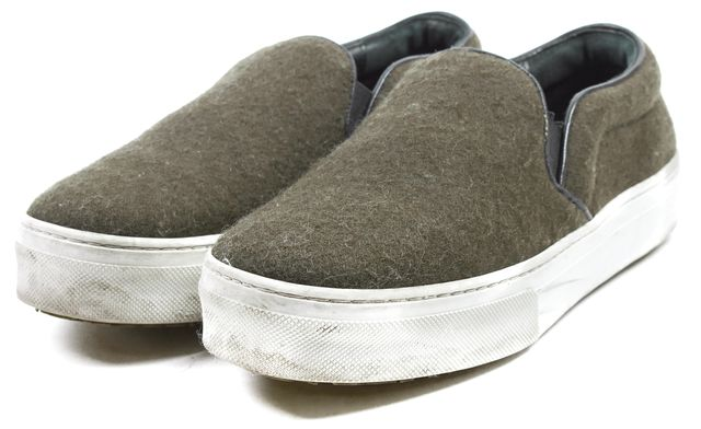 CÉLINE Olive Green Wool Leather Trim Slip-On Sneakers