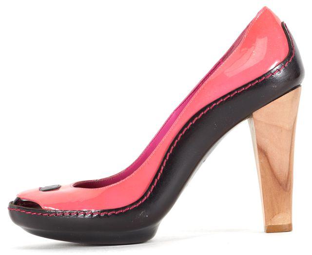 CÉLINE Pink Black Color Block Patent Leather Heels