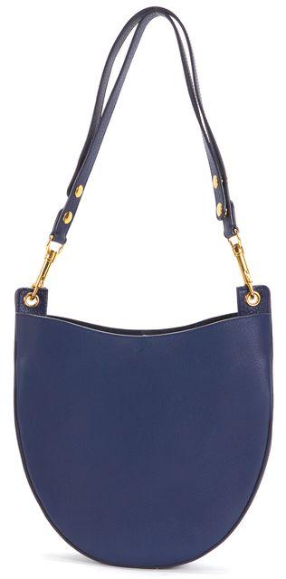 CÉLINE Navy Blue Pebbled Leather Small Hobo Shoulder Bag