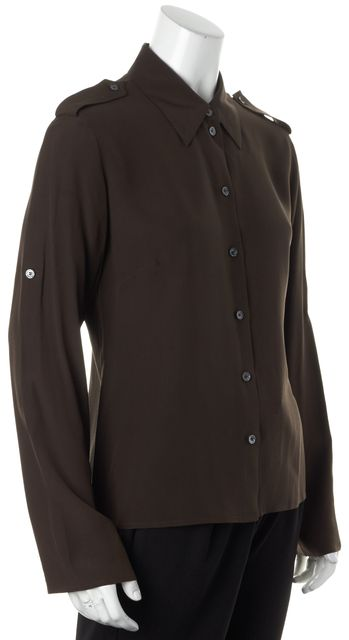 CÉLINE Dark Brown Crepe Silk Long Sleeve Button Down Blouse