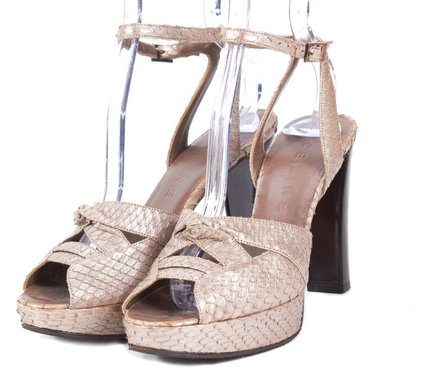 CÉLINE Metallic Beige Reptile Skin Leather Platform Sandal Heels