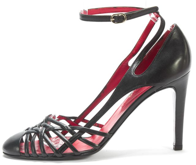 CÉLINE Black Red Leather Insoled Strap On Pump Heels