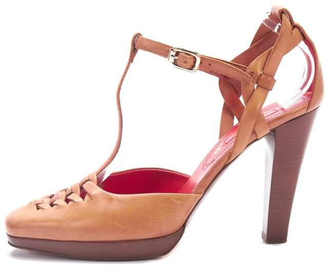 CÉLINE Brown Red Leather Insoled Pump T-Strap Heels