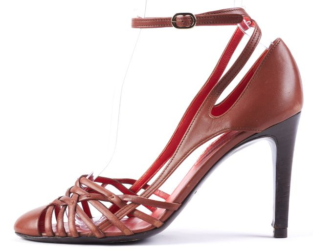CÉLINE Brown Red Leather Insoled Strap On Pump Heels
