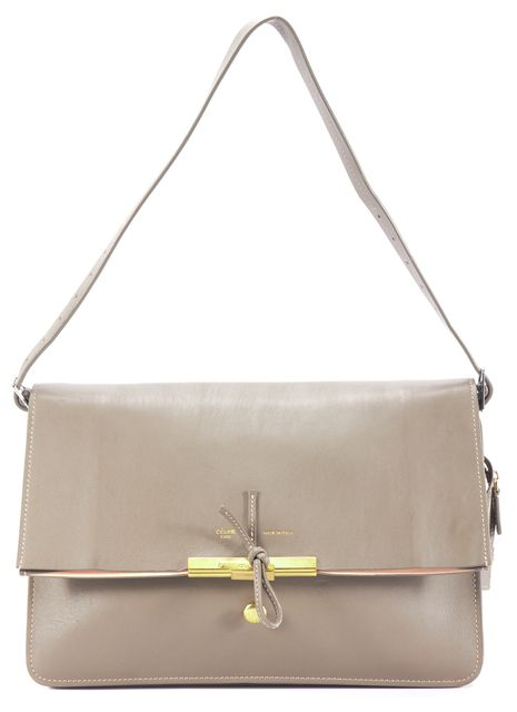 CÉLINE Gray Leather Gold Clasp Fold Over Messenger Shoulder Bag