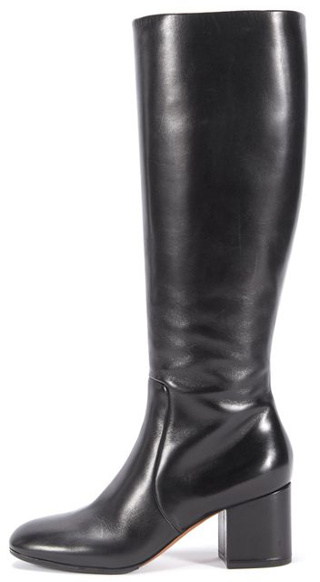 CÉLINE Black Leather Round Toe Knee-high Boots