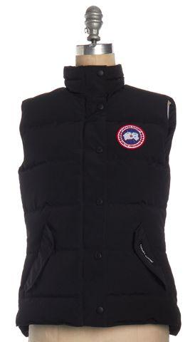 CANADA GOOSE Black Puffer Zip Snap Button Down Vest