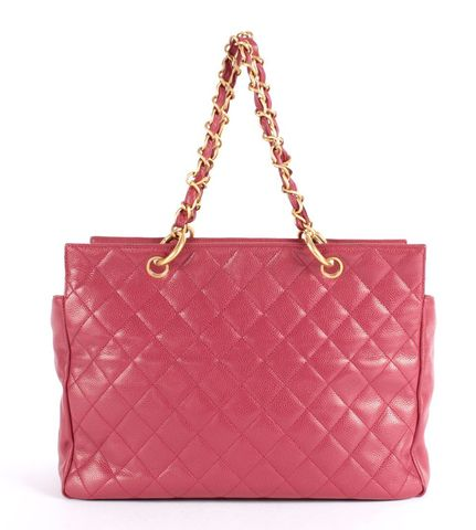 CHANEL Red CC Quilted Caviar Leather Grand Shopping Tote Handbag GST